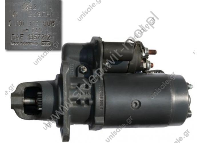 0 986 021 200   Starter for DAF 85, 95, CF, XF  Starter Bosch 0001372008 Starter Item no. DT: 5.47004