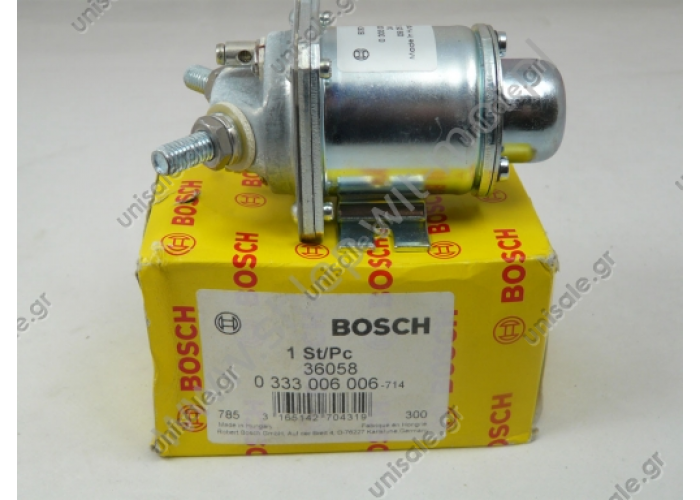 ΡΕΛΕ ΙΣΧΥΟΣ  BOSCH 0333006006  24V 80A NEW   Manufacturer number: 0 333 006 006 (0333006006) - ORIGINAL PRODUCT  electromagnetic relay BOSCH manufacturing part number 0 333 006 006 - 24V; 80Amp - DAF, Scania, Mercedes, MAN, Volvo, Iveco, Kasbohrer