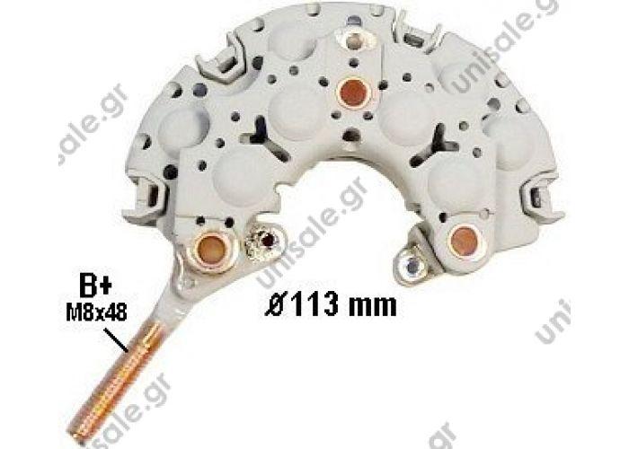 16065 CARGO  Rectifier NIPPONDENSO 110mm B+ M8 + neutre