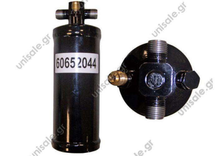 60652044   ΞΗΡΑΝΤΗΡΑΣ A/C UNIVERSAL     Φίλτρο Υγρού 3/8*3/8 O-ring Parker με Πλήρωση & τάπα Universal    Standard Receiver Drier M x M with valve  Massey Ferguson/DAF/Fendt/Case IH/Universal drier (1356360 D45070017 F205550060100 1698300 1782912 3