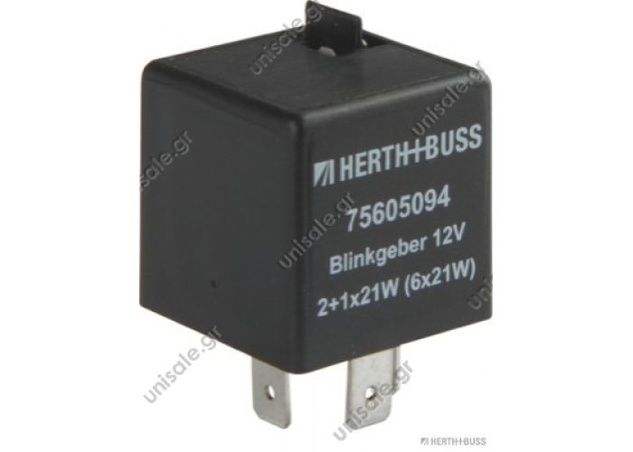 75605094  μονάδα φλας  Direction indicator breaker     Flasher 12V / Nennleistg. 2 + 1 / 6x21 + 5W 75,605,094