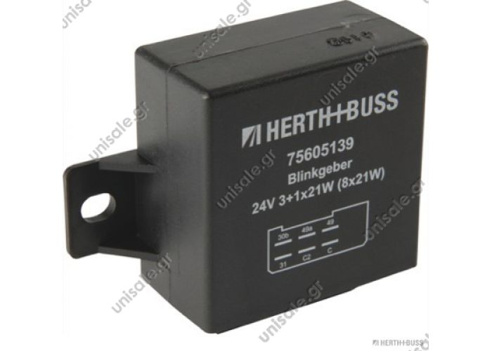 75605139   Διακόπτης φλας       ΠΛΑΚΕΤΕΣ FLASHER Electronic, Rated Voltage 24 V, Switching Capacity 3 + 1(8) x 21 W, Port Type 6 x 6,3 mm, Plug Type Blade Terminal, Width 60 mm, Height 60 mm,