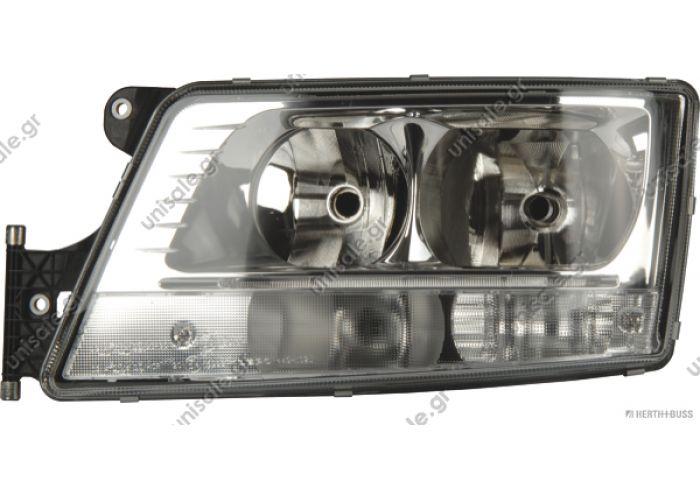 81.25101-6497 ΜΑΝ 81658300  Headlight HERTH+BUSS ELPARTS 81658300 Fitting PositionLeft Bulb TypeH7 / H7 Bulb TypePY21W Light Functionwith position light (LED) Vehicle Equipmentfor vehicles