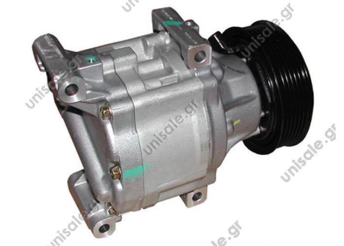 40440081 DCP09003    Compressor Denso complete  LANCIA Ypsilon 1.2 - 1.4 - 1.3 Mjet FIAT : 46819144 LANCIA : 46819144  447170-0560  Denso SCSC06; 100 mm; PV6; 12V; H / V45 °; Fiat Barchetta; Doblo; Idea; Panda; Punto; Siena; Lancia Y; DCP09003