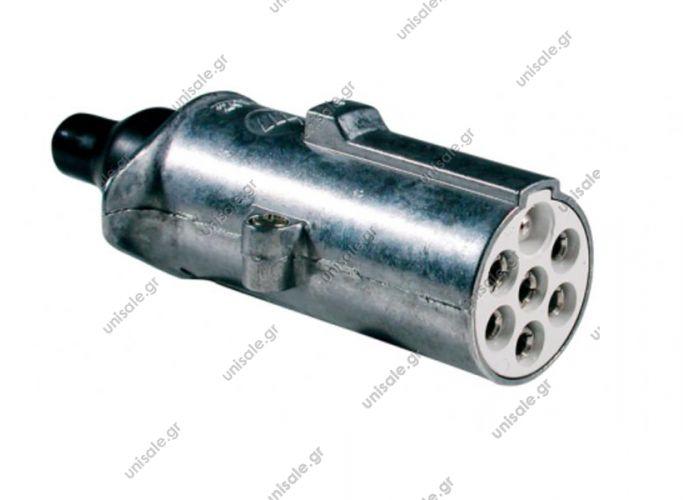 8JA003832001 ΦΙΣ ΣΠΙΡΑΛ ΡΕΥΜΑΤΟΣ  ΜΕΤΑΛΛΙΚΟ 7 pins   S   ΑΝΑΠΟΔΟ   24V     Metal 7-pin plug  ΦΙΣ 7ΠΟΛΙΚΟ 24V 'S' METAΛΙΚΟ 7-pin 24V S type connector (ISO 3731)