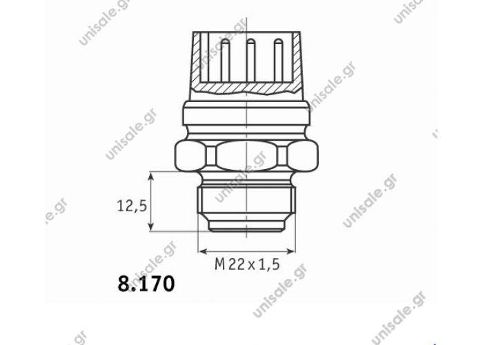 ΒΑΛΒΙΔΑ ΒΕΝΤΙΛΑΤΕΡ Βαλβίδα Ψυγείου Behr 8.170.03  VW/AUDI 185ºF / 85ºC 3 PIN FAN SWITCH 8.170.03
