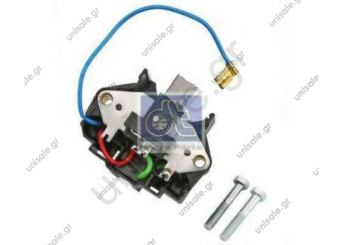 VALEO 182169 Regulator, alternator 111 8148 SCANIA DT 1.21311 (121311), OE: 1696946, 1089451, 5000296603, 5000824128, 5001823383 DT: 2.21000, 221000 FEBI BILSTEIN: 38911 HELLA: 5DR004246031, 5DR004246601 VALEO: 182169
