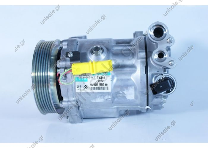 966055580 PEUGEOT / CITROEN MODEL - 407/2.7 V6HDI06-/ 607 2.7 V6 HDI C5/C6/2.7 Compressor - SANDEN MODEL - SD7C16 1335F NUMBER PK. - 6 MW. 123mm  SD7C16-1335F 966055580 Component Status	Original Power supplSanden Pulley diameter [mm]	123 Number CP	6