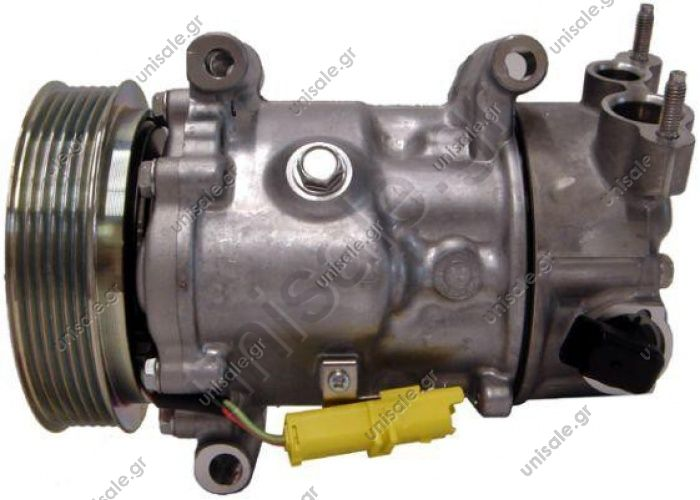 98886 (97886) ΣΥΜΠΙΕΣΤΗΣ CITROEN C4    CITROEN / PEUGEOT MODEL - C4/207/307 II (1.4,1.6,22.0 16V, 1.4,1.6 HDI  SANDEN MODEL - 6C12  6PK - COMPRESSOR NEW No Original	6453QJ/9651910980, 6453.QJ / 6453.QK / 6453.WK / 6453.WL / 6453.ZZ /
