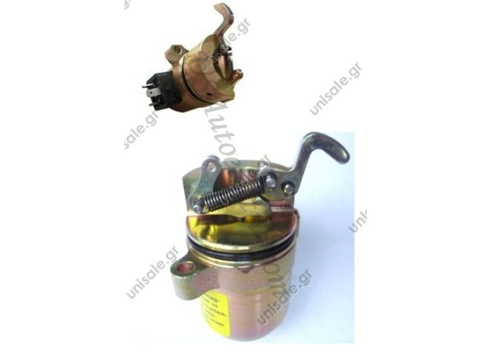 6886715  ΗΛΕΚΤΡΙΚΟ ΣΒΗΣΤΗΡΙ 12V DEUTZ BF4M1011F Engine Fuel Shut Off Solenoid Deutz Stop Solenoid 04272733    Deutz   Solenoid, Fuel Shut Off, BobCat Skid Steer A300 A220 S250 T200, 863 864 873, Replace 04272733, 6886715, Deutz,