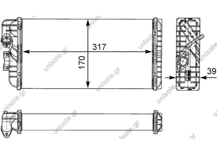 A 002 835 24 01 (A0028352401) MERCEDES A 002 835 24 01 (A0028352401), Heat Exchanger, interior heating  BEHR HELLA SERVICE 8FH 351 312-431 Heat Exchanger, interior heatingMERCEDES LK/LN2	1984-1998 T2/LN1