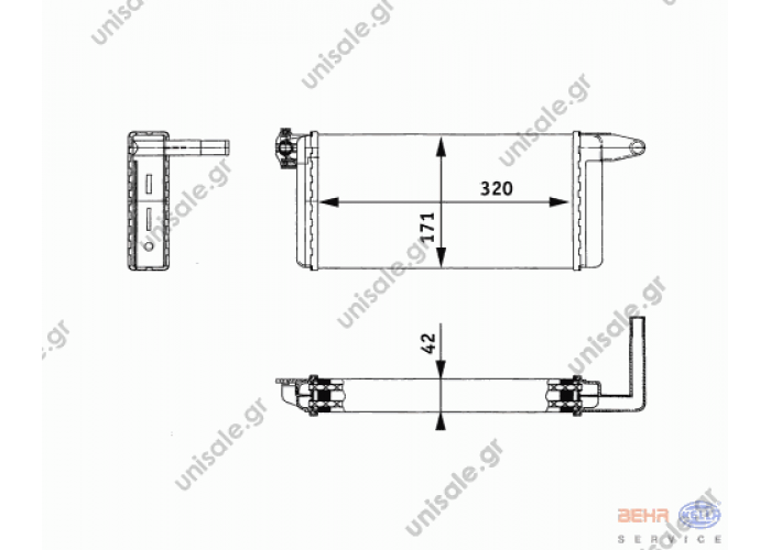 MERCEDES BENZ NG 9200712/8FH 351 312-281 BEHR HELLA SERVICE 8FH 351 312-281 (8FH351312281), Heat Exchanger, interior heating