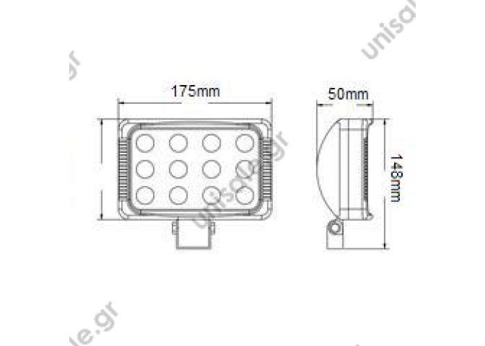 L0080 3W LED / 36W / 12V~1350Lm ; Max 2600Lm / L175*W50*H148 / 9-32V / Spot/fl ood / IP67 / 12V~1350Lm / 2600Lm*