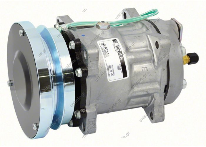 40405145 COMPRESSOR,SANDEN,4608-7H15 24 V 140MM 1-A, R134A REAR GM PAD STEEL ARMATURE,D/C CAT   Caterpillar 1011759 - 1343997 - 2021759 - 3E1906 - 3E3658 - 4468 - 4604 - 7984 - 7T8600 - 8064  Sanden Compressor # 4608 CATERPILLAR OEM# 3E-1908