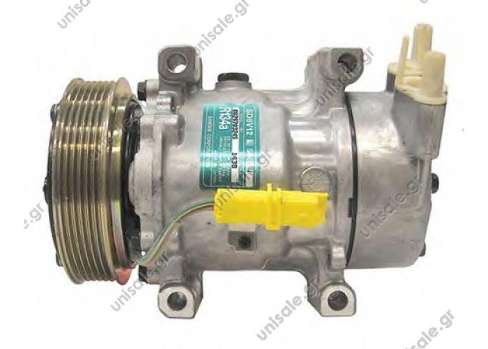 40430265  ΚΟΜΠΡΕΣΣΕΡ A/C   Car Air Conditioning Compressor   Sanden variable SD6V12     PEUGEOT Partner 1.1 - 1.4 - 1.6 16v  6453.JL/6453.KS/6453.LH/6453.   CITROEN : 6453KS, 6453GZ, 6453LN, 6453LF PEUGEOT : 6453JL, 9646273880, 6453LF