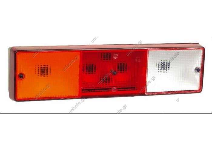 R-2012 OΠΙΣΘΙΟΣ ΦΑΝΟΣ 4 ΛΕΙΤΟΥΡΓΙΩΝ R-2012 Description:REF. NO. R-2012 Δεξιός L-2013 Αριστερός, με φως πινακίδας  Όπισθεν Στοπ Πορείας Φλας Με φως πινακίδας (PL)  P2012 Πλαστικό