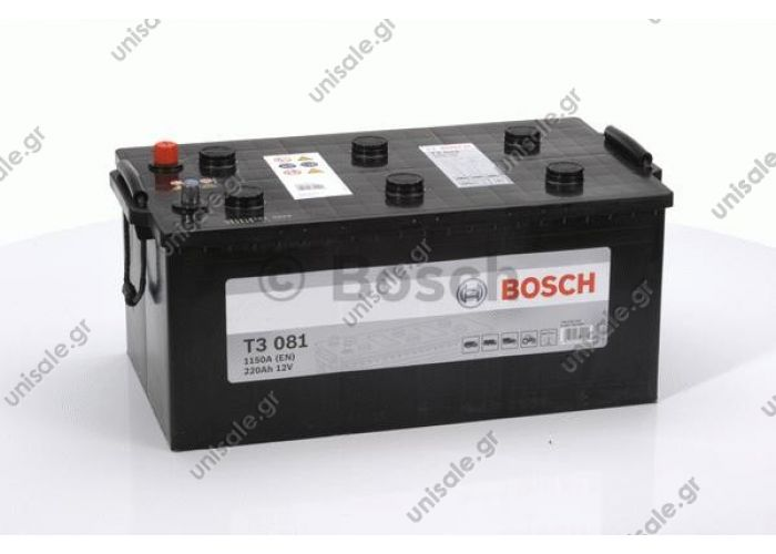 "0092T30810  BOSCH ΜΠΑΤΑΡΙΑ ""Τ3"" GREY LINE (220Ah/1450A) ± 518x291x242   0 092 T30 810 ΜΠΑΤΑΡΙΑ T3 HD 220Αh/1150A ΑΡ. Κωδικός Προϊόντος : 0092T30810 ΜΠΑΤΑΡΙΑ T3 HD 220Αh/1150A ΑΡΙΣΤΕΡΟ  TRUCK-BATTERY"