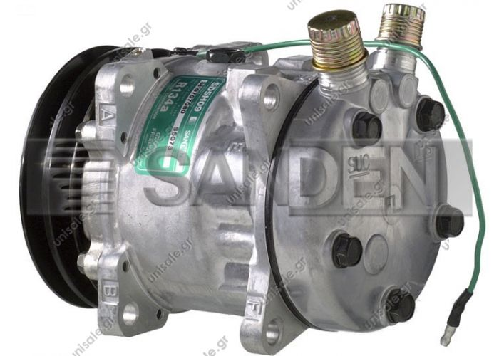 "5073   ΣΥΜΠΙΕΣΤΗΣ A/C    COMPRESSOR SD5H09 5800049   SD508 24V   SANDEN UNIVERSAL COMPRESSORS OE No.	SD5H09 / 5073     Pulley wheel diameter [mm]	125 Number of grooves	2 Connectors	7/8"" x 3/4"" Connectors orientation	Vertical Cover designation	FL"