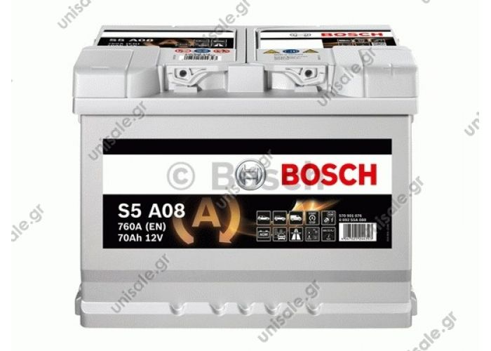0092S5A080  BOSCH ΜΠΑΤΑΡΙΑ S5 AGM START-STOP BLACK LINE (70Ah/760A) ΔΕΞ. 278x175x190    0 092 S5A 080 ΜΠΑΤΑΡΙΑ S5A AGM 70AH/760A   Μπαταρία Αυτοκινήτου Bosch Κλειστού Τύπου
