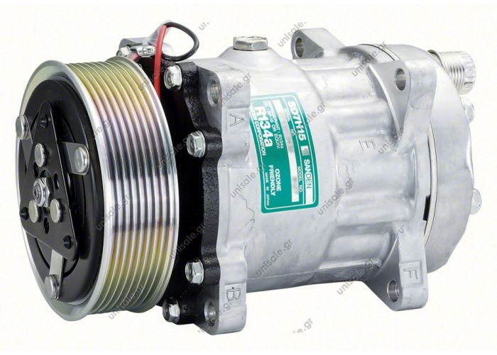 40405301 Compressors > Earthmoving & farm machines > Caterpillar 8143 - 84058795 Compressor SD 7H15 (84058795) Model: SD 7H15 | Horizontal ouput O'Ring | Poly clutch V 8 grooves | OEM Reference 84058795