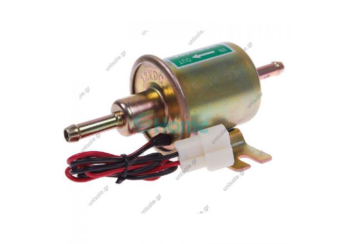 HEP-02 ΑΝΤΛΙΑ ΒΕΝΖΙΝΗΣ ΠΕΤΡΕΛΑΙΟΥ 12V electric fuel pump for car carburetor,  HEP02A  Self-priming up to 5 m - Hose connection 8 mm - Delivers up to 70 L per hour Consists of	- Universal diesel lift pump, 12 V -2 cables -T-connector Unit