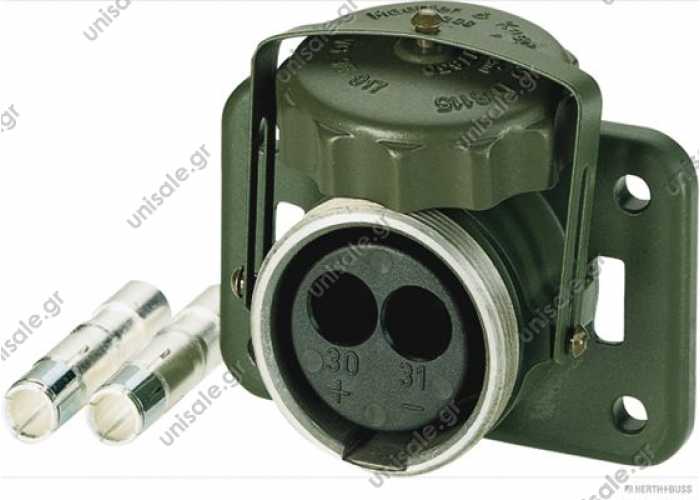 51305416  NATO 5935121217290   Socket 2-pole with combined crimp/soldering contacts for 50 mm² cable  Capacity at 24V: 300A Colour: Nato Olive Prot.type (IP Code): IP54 Plug Type: Crimp Contact, Soldered Pin Contact