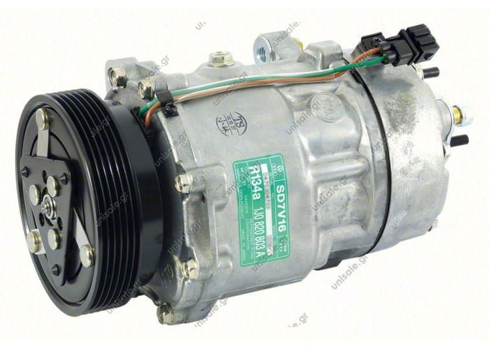 40405094  ΚΟΜΠΡΕΣΣΕΡ A/C    1J0-820-803L     AUDI A3 I Serie  Compressor Sanden variable SD7V16    OE: 1076012 - 1080 - 1111419 - 1206 - 1215 - 1221 - 1226 - 1231 - 1233 - 1245 - 1278 - 1283 - 1J00820803A