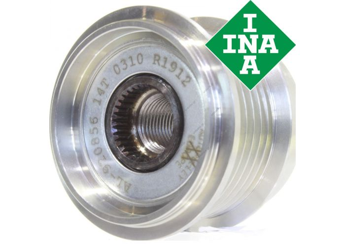 Original INA freewheel pulley Opel Vectra C Gts Signum Zafira B (A05) Cdti 1.9  Overrunning alternator pulley Pulley Ø [mm]: 53.75 mm Number of ribs: 6 Depth: 42.10 mm Item condition: Original INA new part