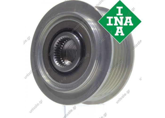 INA Original Freewheel Pulley Audi A4 Avant Convertible 3.2 FSI quattro A6 Allroad Avant 2.4 2.8  Overrunning alternator pulley Pulley Ø [mm]: 64.6 Number of ribs: 6 Depth [mm]: 22.6 Article number: 720228