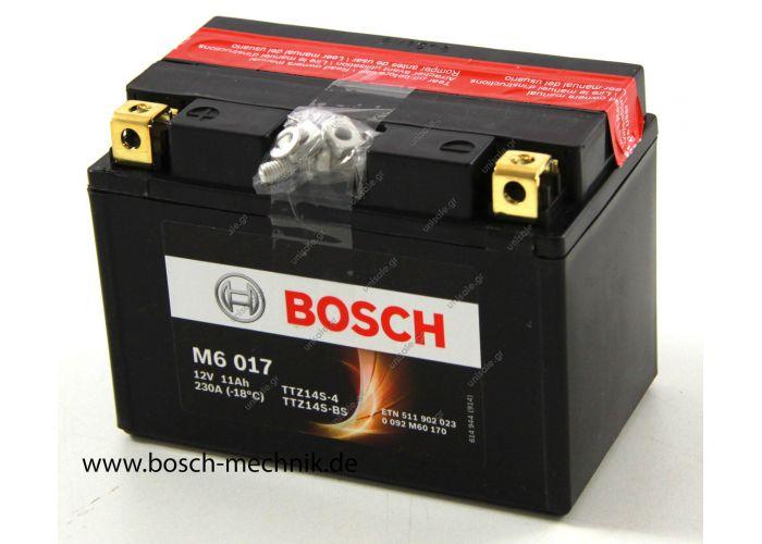 ΜΠΑΤΑΡΙΑ MOTO BOSCH M6017 11AH 230A YTZ14S-4 YTZ14S-BS  Μπαταρία Moto M6 Bosch 0092M6170