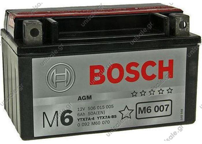 ΜΠΑΤΑΡΙΑ MOTO BOSCH M6007 6AH 105A YTX7ABS / YTX7A-4   Μπαταρία Moto M6 Bosch 0092M6070