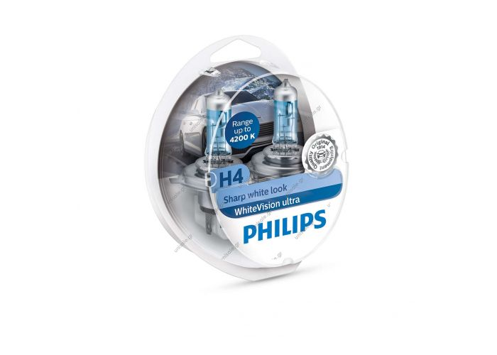 12342WVUSM  H4 Λάμπες Philips H4    Philips 12342WVUSM WhiteVision Ultra Xenon Effect H4 Headlight Bulb, 4.200