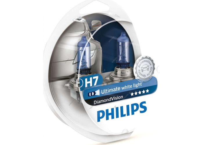 PHILIPS H7 12V 55W DIAMOND VISION 5000k 12972DVS2  Philips H7 DiamondVision 12V 2τμχ