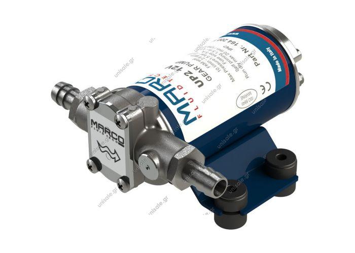 16420012  UP2  MARCO  ΑΝΤΛΙΑ  με χάλκινα γρανάζια 10 l / min   Αυτοαπορρόφηση,  περίβλημα από επινικελωμένο ορείχαλκο, άξονας από ανοξείδωτο χάλυβα.  Ιδιαίτερα κατάλληλο για τη μεταφορά ντίζελ και αντιψυκτικού.
