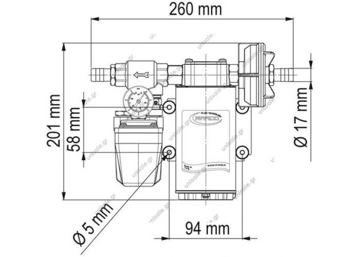 16462013 UP6/A 24V  MARCO  ΑΝΤΛΙΑ  κατάλληλη για συστήματα πιέσεως νερού σε σκάφη και τροχόσπιτα. Αντλία αυτόματης αναρρόφησης πρεσοστατική με ροή 26 λίτρα το λεπτό
