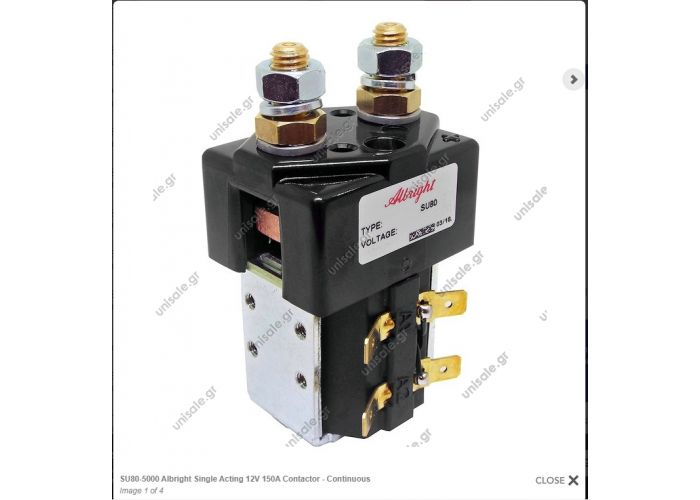 SU80-5000 Albright  ΡΕΛΕ  ΕΝΙΣΧΥΜΕΝΟ      Single Acting 12V 150A Contactor - Continuous  Model:  SU80-5000  Brand:  Albright Colour:  Black Voltage:  12V DC Amperage:  150A Material:  Copper/Silver/Bakelite/Steel Coil type:  Continuous